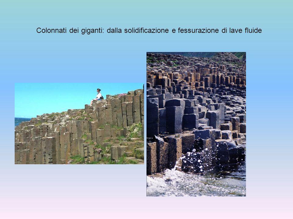 I gas: il loro ruolo nel meccanismo eruttivo gas I gas si trovano disciolti nel magma Vapore acqueo, acido cloridrico, gas a base di zolfo, anidride carbonica, monossido di carbonio Quando la pressione sulla camera magmatica diminuisce, i gas risalgono il camino vulcanico, talvolta fanno esplodere il materiale solidificato in esso I gas che salgono trascinano con sé il magma/lava