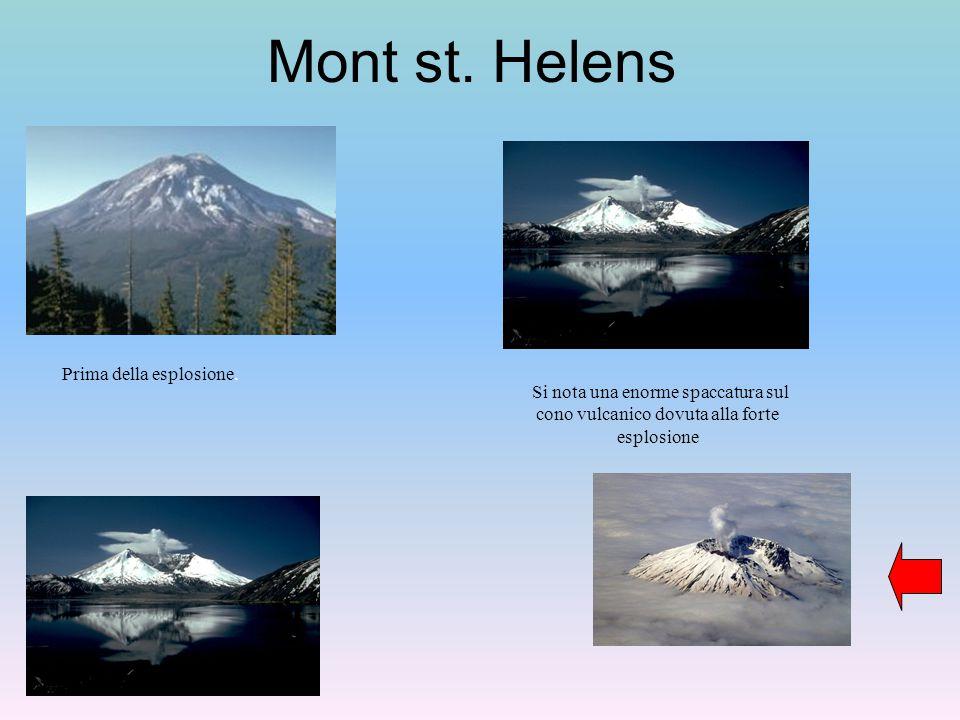 Mont st. Helens Prima della esplosione. Si nota una enorme spaccatura sul cono vulcanico dovuta alla forte esplosione