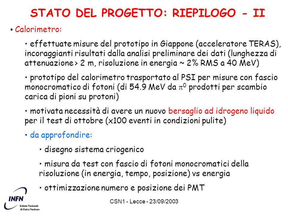 CSN1 - Lecce - 23/09/2003 STATO DEL PROGETTO: RIEPILOGO - II Calorimetro: effettuate misure del prototipo in Giappone (acceleratore TERAS), incoraggia