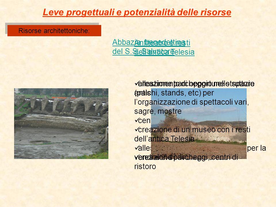 Risorse architettoniche: Abbazia benedettina del S.S. Salvatore Leve progettuali e potenzialità delle risorse creazione parcheggio nello spazio antist