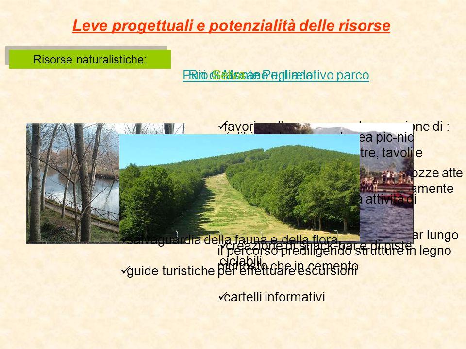 Rio Grassano e il relativo parco Risorse naturalistiche: Leve progettuali e potenzialità delle risorse Puri di Monte Pugliano favorirne l'accesso con