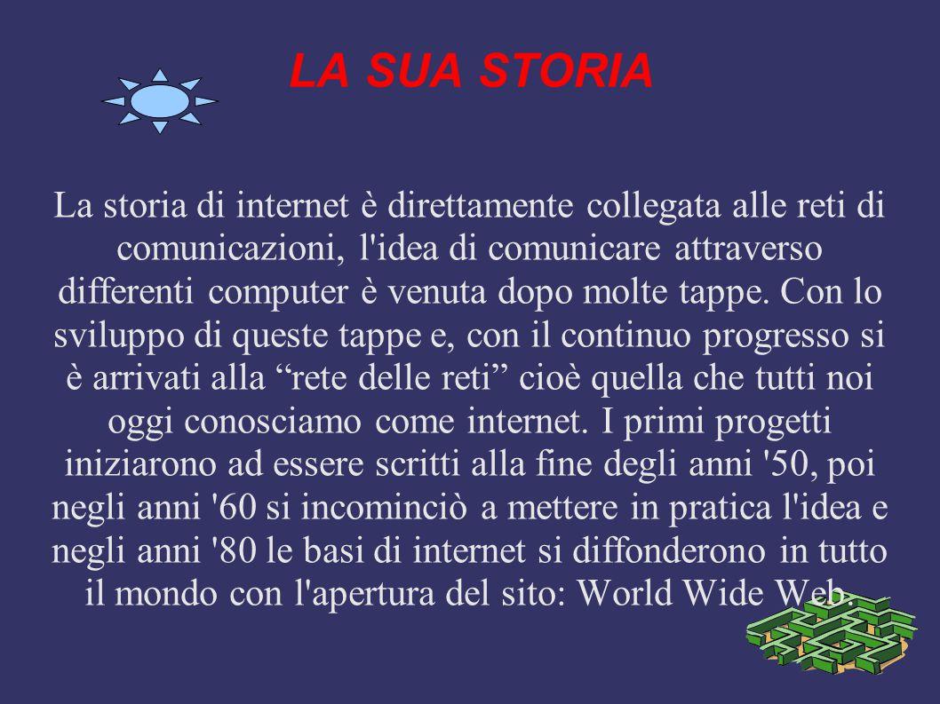 Che cos'è internet Internet è una rete mondiale ad accesso pubblico che consente, a chiunque è in possesso di un computer e se appoggiato da un punto