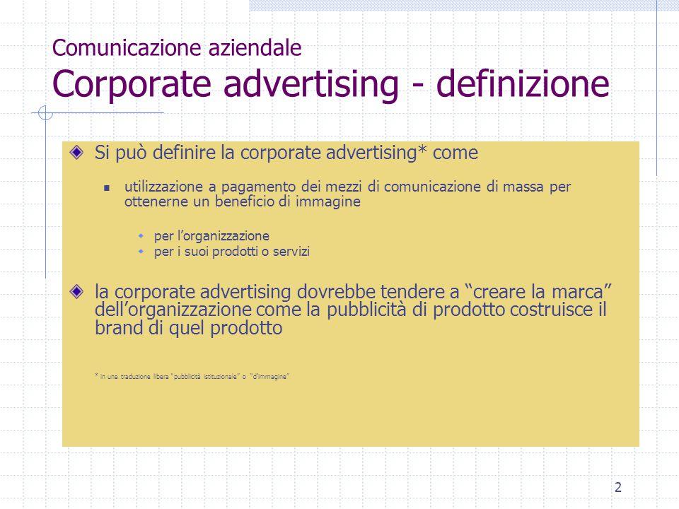 2 Comunicazione aziendale Corporate advertising - definizione Si può definire la corporate advertising* come utilizzazione a pagamento dei mezzi di co