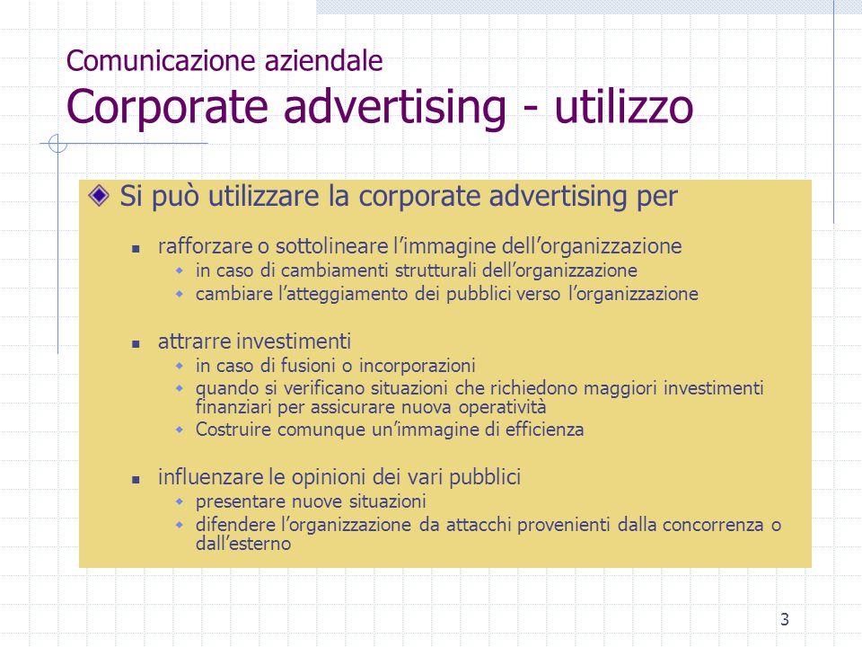 3 Comunicazione aziendale Corporate advertising - utilizzo Si può utilizzare la corporate advertising per rafforzare o sottolineare l'immagine dell'or