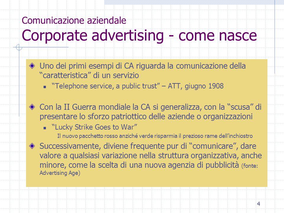 """4 Comunicazione aziendale Corporate advertising - come nasce Uno dei primi esempi di CA riguarda la comunicazione della """"caratteristica"""" di un servizi"""