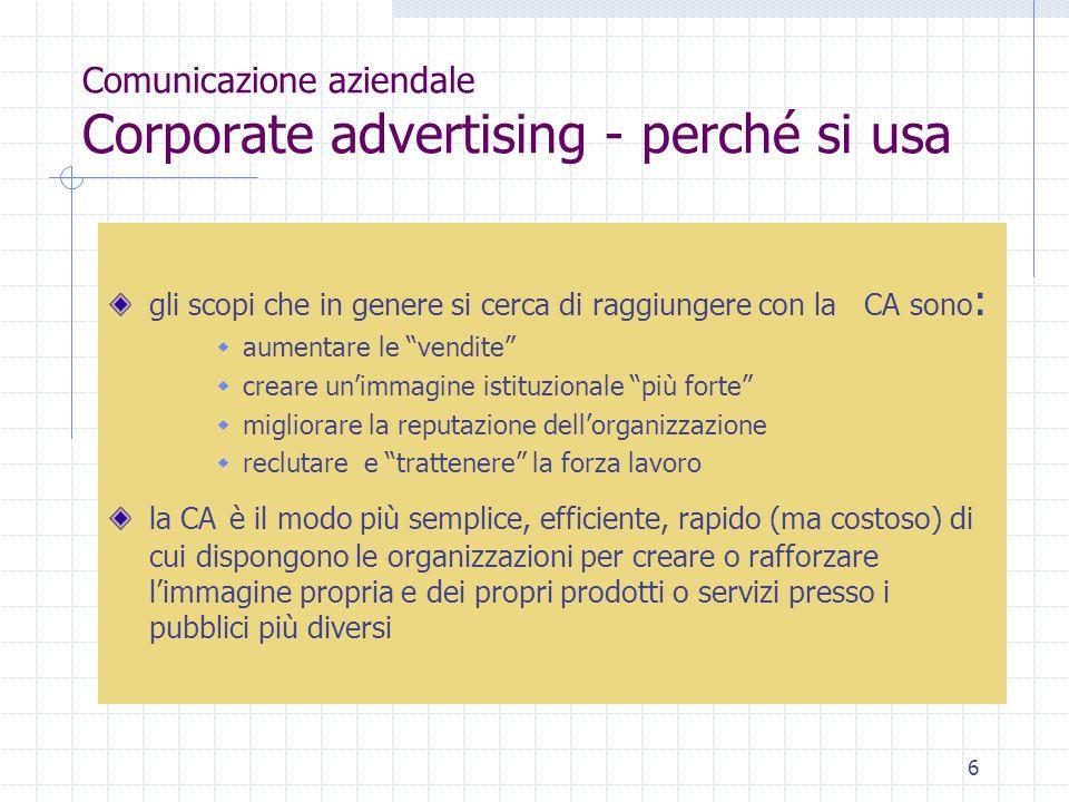 """6 Comunicazione aziendale Corporate advertising - perché si usa gli scopi che in genere si cerca di raggiungere con la CA sono :  aumentare le """"vendi"""