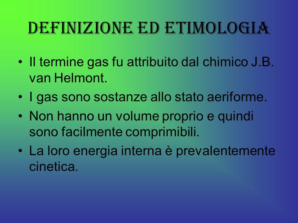 Definizione ed etimologia Il termine gas fu attribuito dal chimico J.B.