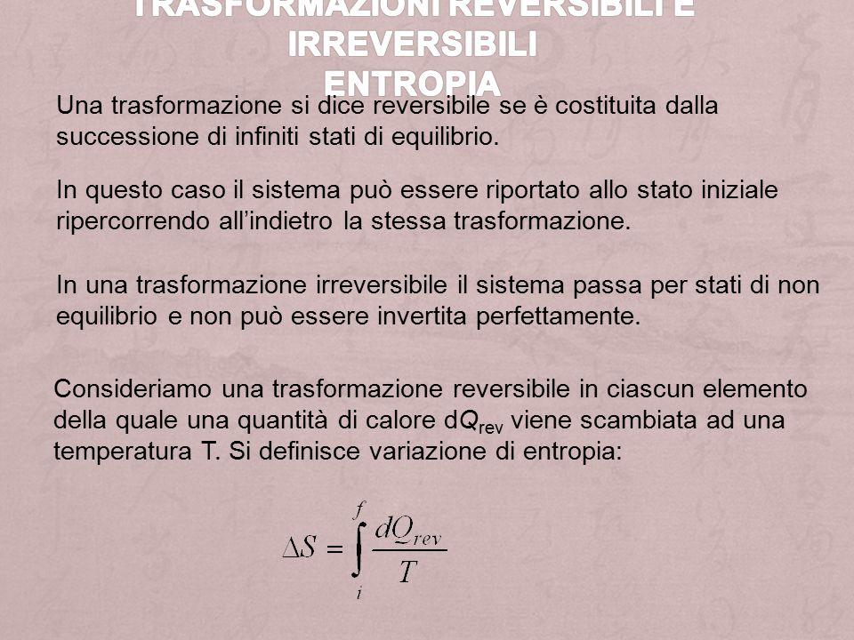 Una trasformazione si dice reversibile se è costituita dalla successione di infiniti stati di equilibrio.