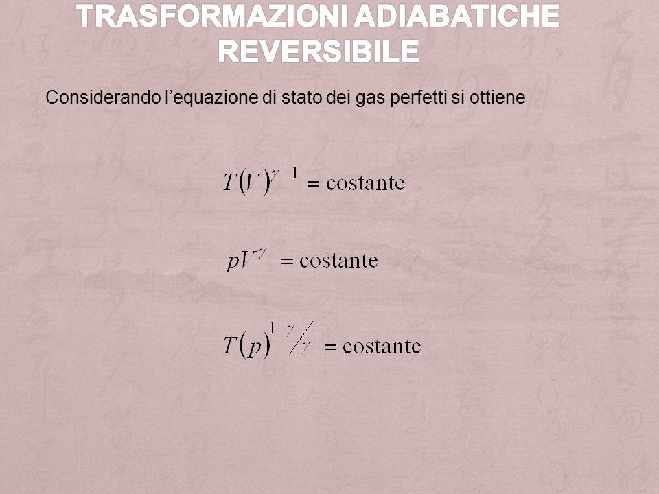 Considerando l'equazione di stato dei gas perfetti si ottiene