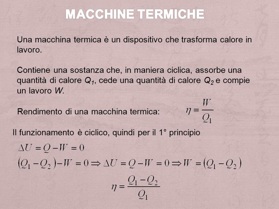 Schema di una generica macchina termica: Schema di una generica macchina frigorifera: Rendimento: Efficienza: