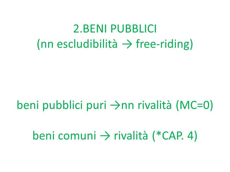 2.BENI PUBBLICI (nn escludibilità → free-riding) beni pubblici puri →nn rivalità (MC=0) beni comuni → rivalità (*CAP.