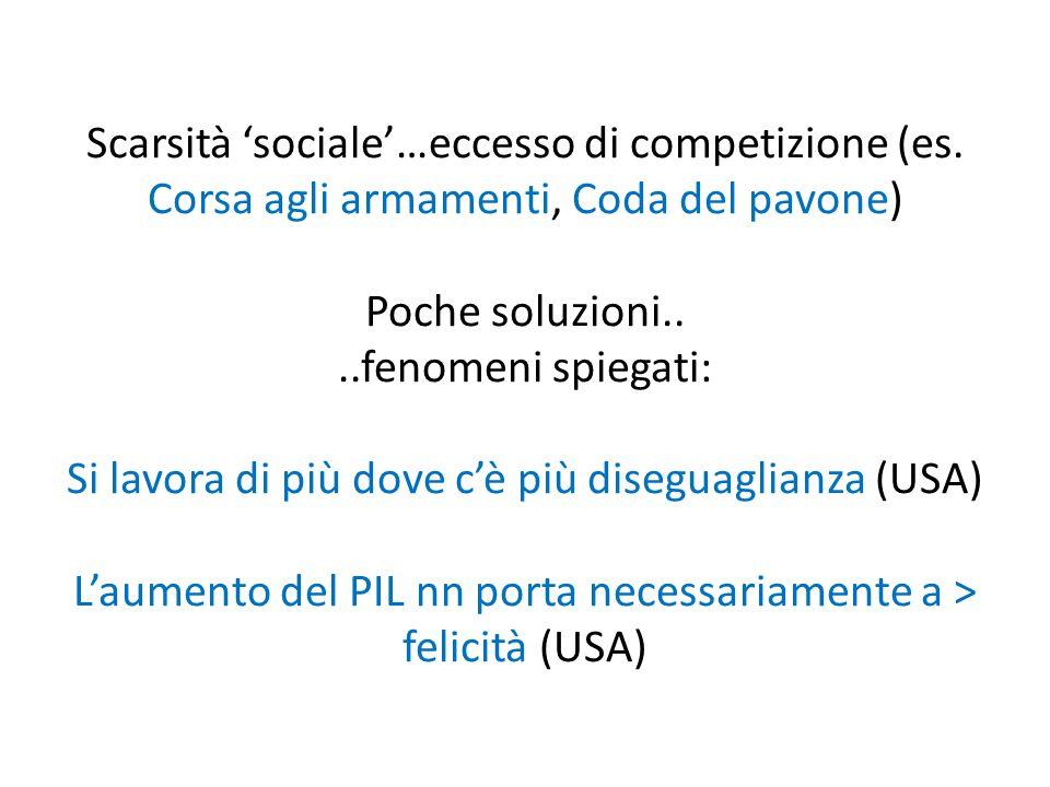 Scarsità 'sociale'…eccesso di competizione (es.