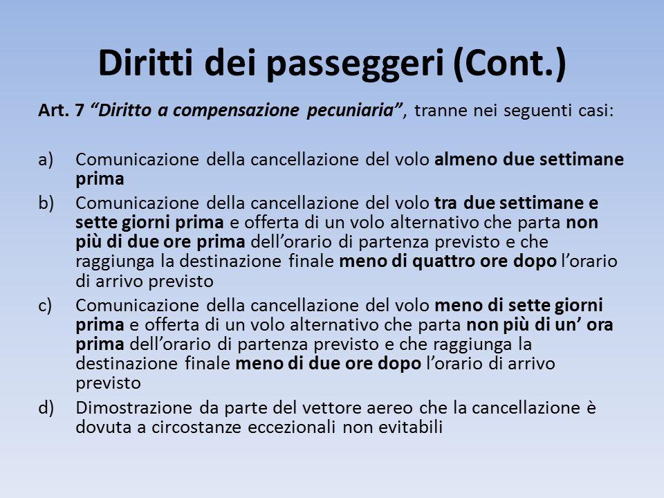 Diritti dei passeggeri (Cont.) Art.