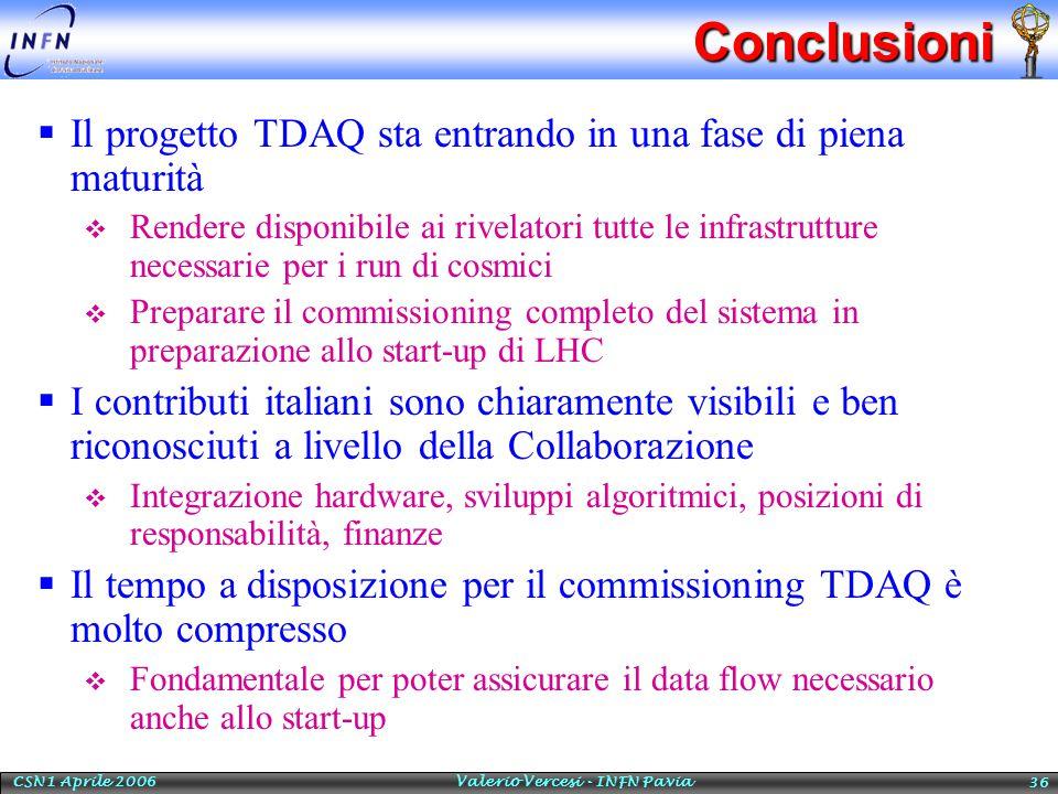 CSN1 Aprile 2006 Valerio Vercesi - INFN Pavia 36Conclusioni  Il progetto TDAQ sta entrando in una fase di piena maturità  Rendere disponibile ai rivelatori tutte le infrastrutture necessarie per i run di cosmici  Preparare il commissioning completo del sistema in preparazione allo start-up di LHC  I contributi italiani sono chiaramente visibili e ben riconosciuti a livello della Collaborazione  Integrazione hardware, sviluppi algoritmici, posizioni di responsabilità, finanze  Il tempo a disposizione per il commissioning TDAQ è molto compresso  Fondamentale per poter assicurare il data flow necessario anche allo start-up