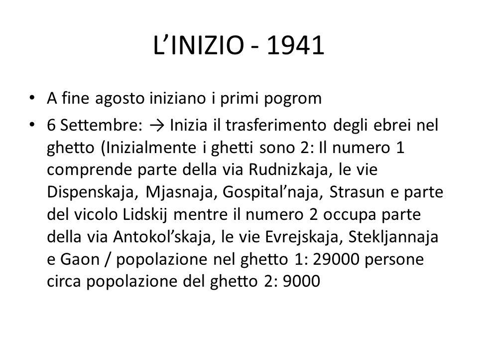 L'INIZIO - 1941 A fine agosto iniziano i primi pogrom 6 Settembre: → Inizia il trasferimento degli ebrei nel ghetto (Inizialmente i ghetti sono 2: Il numero 1 comprende parte della via Rudnizkaja, le vie Dispenskaja, Mjasnaja, Gospital'naja, Strasun e parte del vicolo Lidskij mentre il numero 2 occupa parte della via Antokol'skaja, le vie Evrejskaja, Stekljannaja e Gaon / popolazione nel ghetto 1: 29000 persone circa popolazione del ghetto 2: 9000