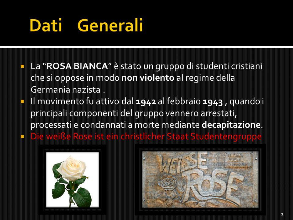 """ La """"ROSA BIANCA"""" è stato un gruppo di studenti cristiani che si oppose in modo non violento al regime della Germania nazista.  Il movimento fu atti"""