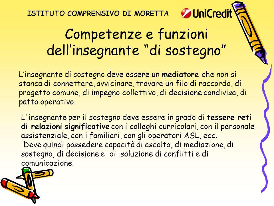 """Competenze e funzioni dell'insegnante """"di sostegno"""" L'insegnante di sostegno deve essere un mediatore che non si stanca di connettere, avvicinare, tro"""