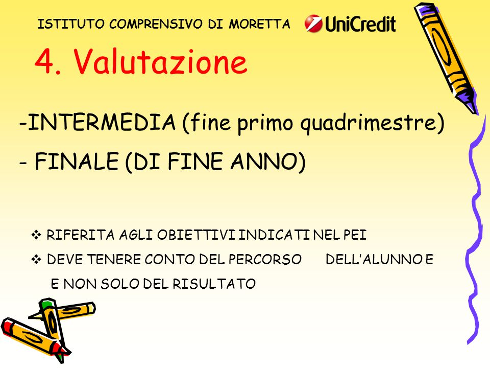 4. Valutazione -INTERMEDIA (fine primo quadrimestre) - FINALE (DI FINE ANNO)  RIFERITA AGLI OBIETTIVI INDICATI NEL PEI  DEVE TENERE CONTO DEL PERCOR