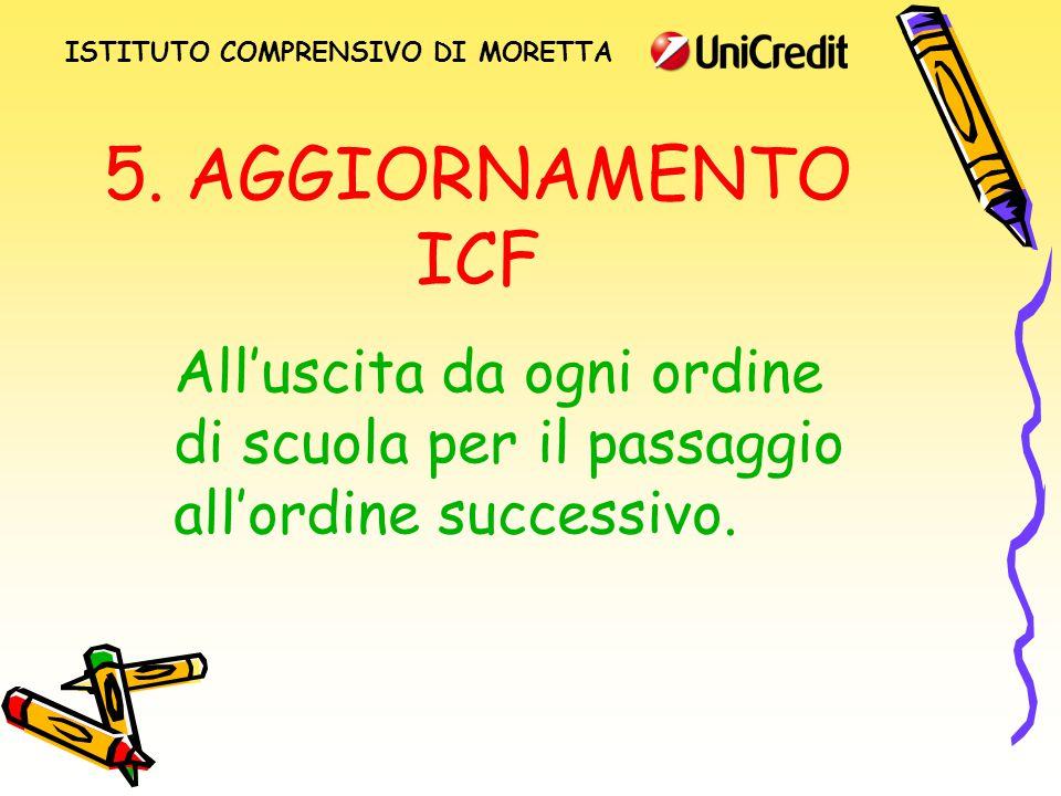 5. AGGIORNAMENTO ICF All'uscita da ogni ordine di scuola per il passaggio all'ordine successivo.
