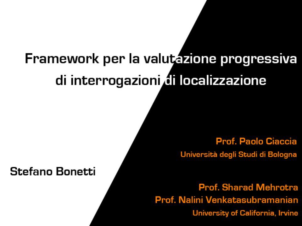 Dominio ObiettiviFramework Test Conclusio ni Stefano Bonetti – Framework per la valutazione progressiva di interrogazioni di localizzazione Problema: data una query, quali componenti è meglio valutare per minimizzare i costi.