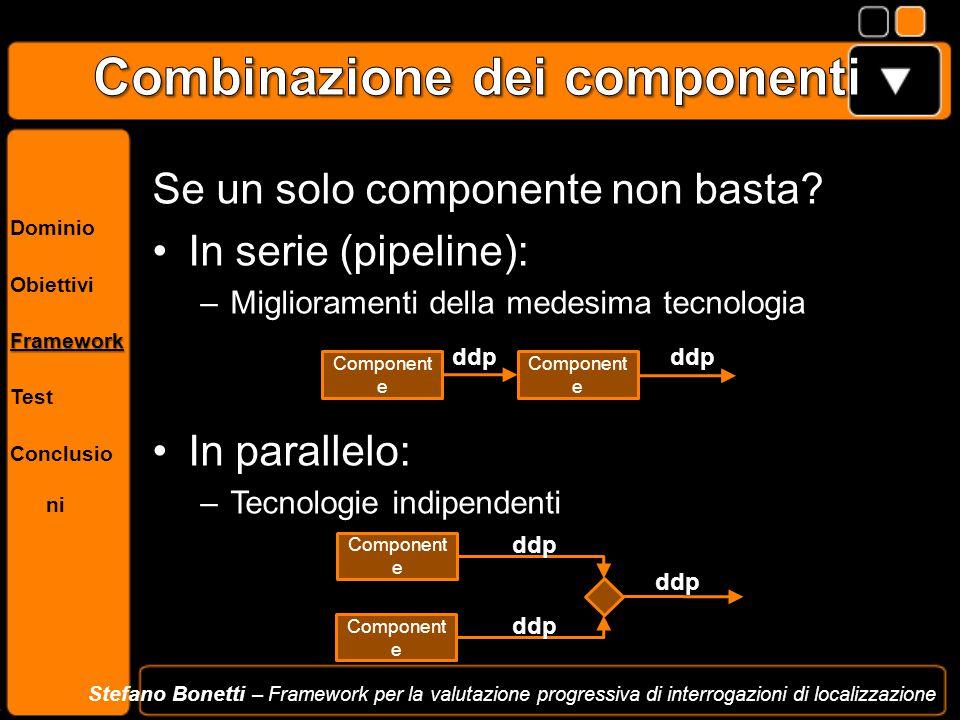 Dominio ObiettiviFramework Test Conclusio ni Stefano Bonetti – Framework per la valutazione progressiva di interrogazioni di localizzazione Se un solo