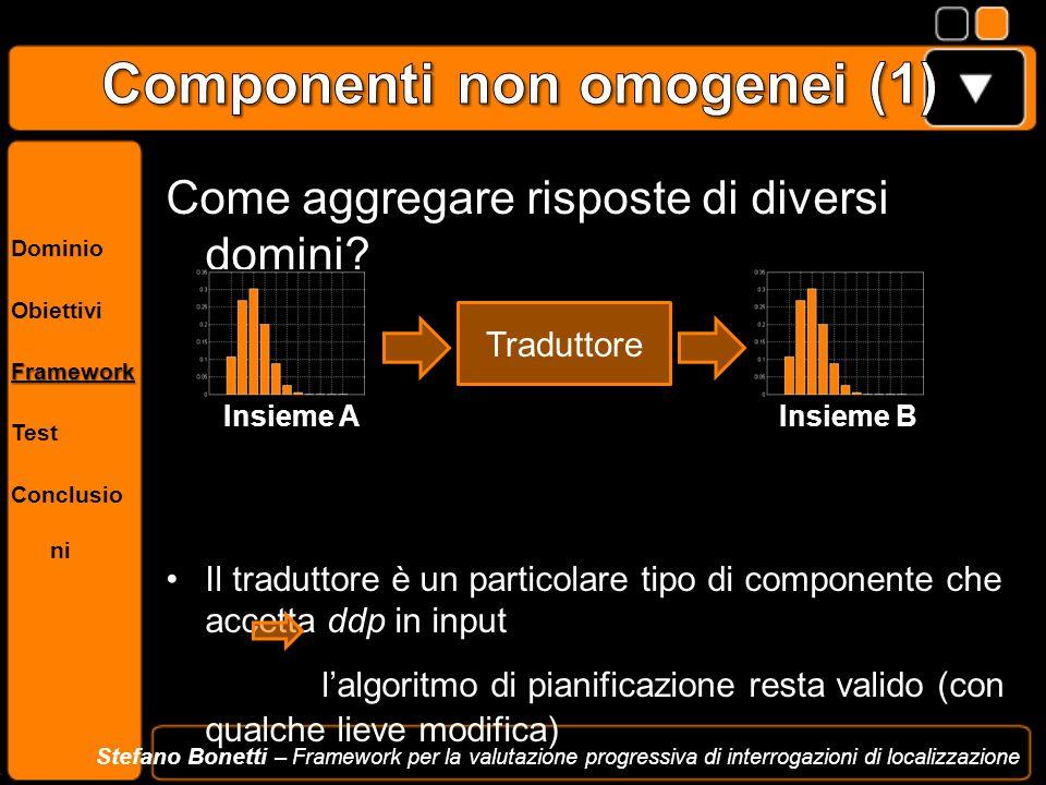 Dominio ObiettiviFramework Test Conclusio ni Stefano Bonetti – Framework per la valutazione progressiva di interrogazioni di localizzazione Come aggre