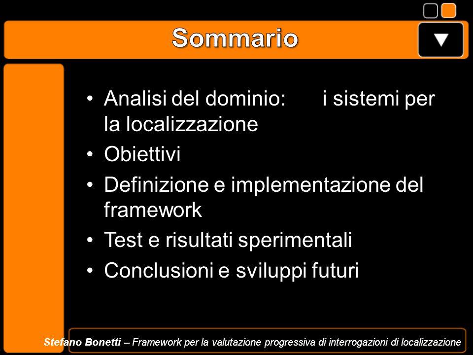 Analisi del dominio: i sistemi per la localizzazione Obiettivi Definizione e implementazione del framework Test e risultati sperimentali Conclusioni e