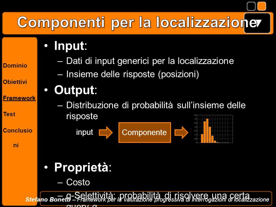 Dominio ObiettiviFramework Test Conclusio ni Stefano Bonetti – Framework per la valutazione progressiva di interrogazioni di localizzazione Input: –Da