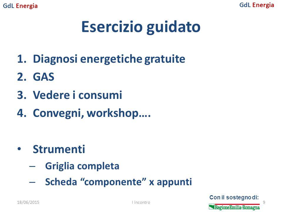 GdL Energia Con il sostegno di: Esercizio guidato 1.Diagnosi energetiche gratuite 2.GAS 3.Vedere i consumi 4.Convegni, workshop….