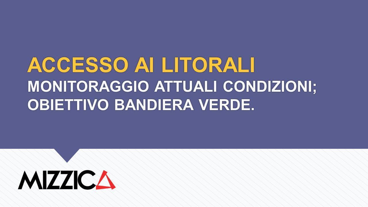 ACCESSO AI LITORALI MONITORAGGIO ATTUALI CONDIZIONI; OBIETTIVO BANDIERA VERDE.