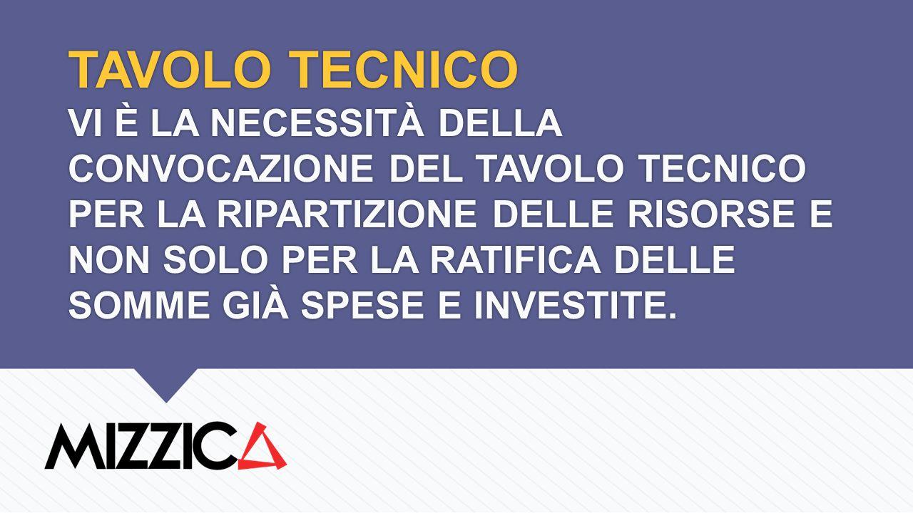 TAVOLO TECNICO VI È LA NECESSITÀ DELLA CONVOCAZIONE DEL TAVOLO TECNICO PER LA RIPARTIZIONE DELLE RISORSE E NON SOLO PER LA RATIFICA DELLE SOMME GIÀ SPESE E INVESTITE.