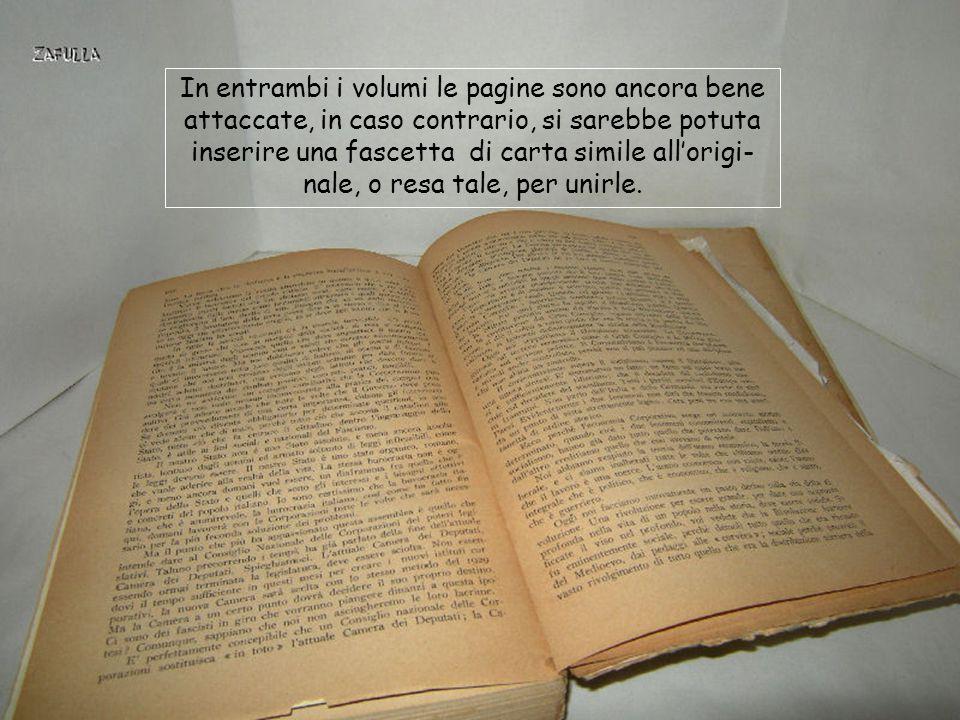 In entrambi i volumi le pagine sono ancora bene attaccate, in caso contrario, si sarebbe potuta inserire una fascetta di carta simile all'origi- nale, o resa tale, per unirle.