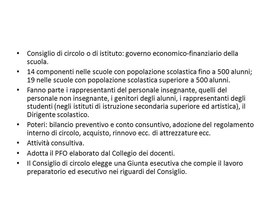 Consiglio di circolo o di istituto: governo economico-finanziario della scuola. 14 componenti nelle scuole con popolazione scolastica fino a 500 alunn