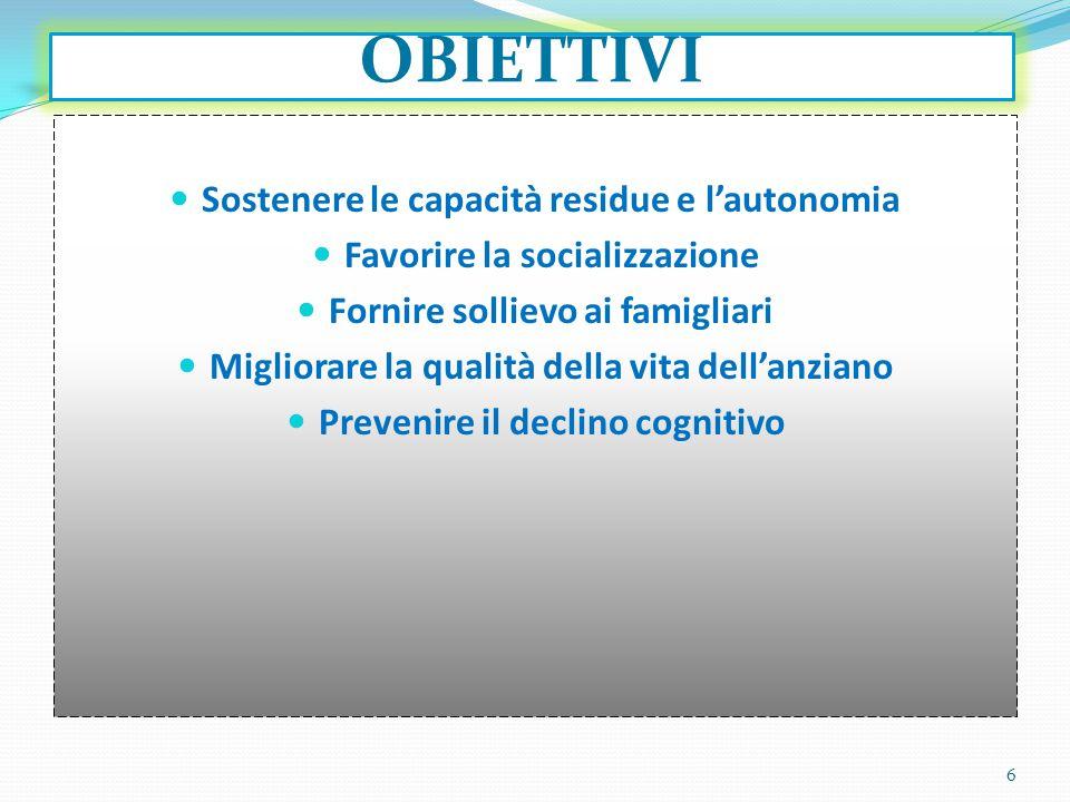 OBIETTIVI Sostenere le capacità residue e l'autonomia Favorire la socializzazione Fornire sollievo ai famigliari Migliorare la qualità della vita dell'anziano Prevenire il declino cognitivo 6