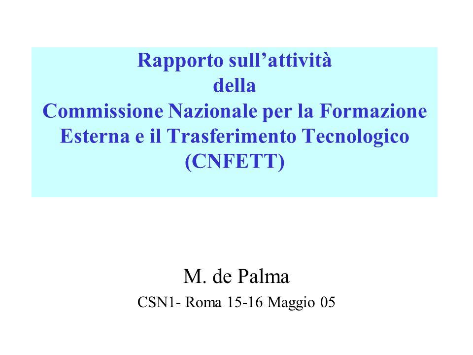 Rapporto sull'attività della Commissione Nazionale per la Formazione Esterna e il Trasferimento Tecnologico (CNFETT) M. de Palma CSN1- Roma 15-16 Magg