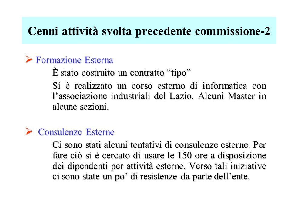 Cenni attività svolta precedente commissione-2  Formazione Esterna È stato costruito un contratto tipo Si è realizzato un corso esterno di informatica con l'associazione industriali del Lazio.