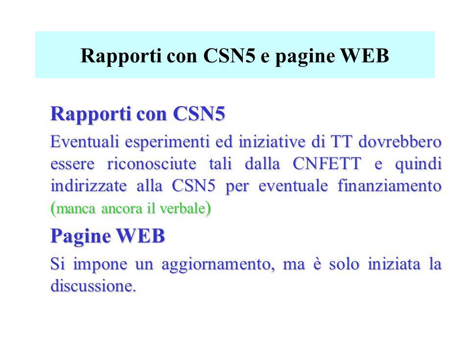 Rapporti con CSN5 e pagine WEB Rapporti con CSN5 Eventuali esperimenti ed iniziative di TT dovrebbero essere riconosciute tali dalla CNFETT e quindi indirizzate alla CSN5 per eventuale finanziamento ( manca ancora il verbale ) Pagine WEB Si impone un aggiornamento, ma è solo iniziata la discussione.