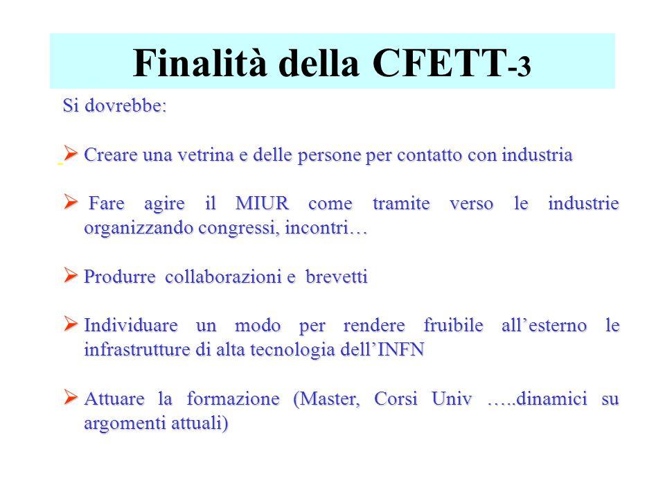 Finalità della CFETT -3 - Si dovrebbe:  Creare una vetrina e delle persone per contatto con industria  Fare agire il MIUR come tramite verso le indu