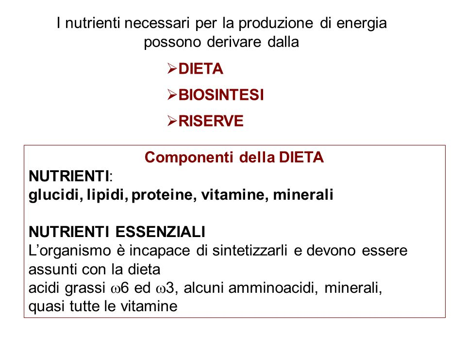 Componenti della DIETA NUTRIENTI: glucidi, lipidi, proteine, vitamine, minerali NUTRIENTI ESSENZIALI L'organismo è incapace di sintetizzarli e devono essere assunti con la dieta acidi grassi  6 ed  3, alcuni amminoacidi, minerali, quasi tutte le vitamine  DIETA  BIOSINTESI  RISERVE I nutrienti necessari per la produzione di energia possono derivare dalla