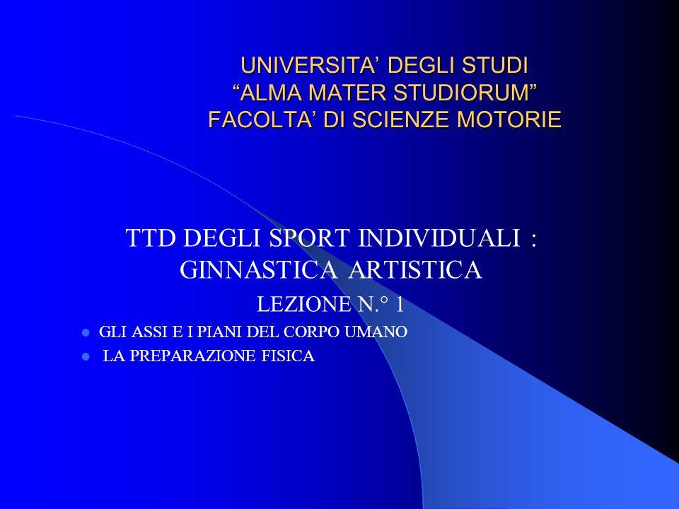 UNIVERSITA' DEGLI STUDI ALMA MATER STUDIORUM FACOLTA' DI SCIENZE MOTORIE TTD DEGLI SPORT INDIVIDUALI : GINNASTICA ARTISTICA LEZIONE N.° 1 GLI ASSI E I PIANI DEL CORPO UMANO LA PREPARAZIONE FISICA