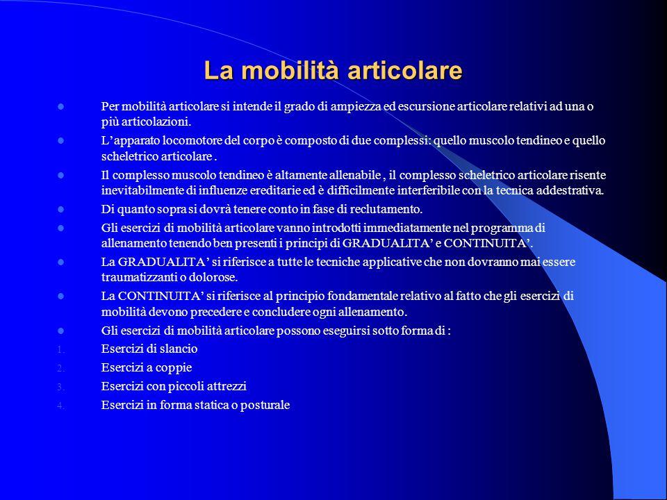 La mobilità articolare Per mobilità articolare si intende il grado di ampiezza ed escursione articolare relativi ad una o più articolazioni.