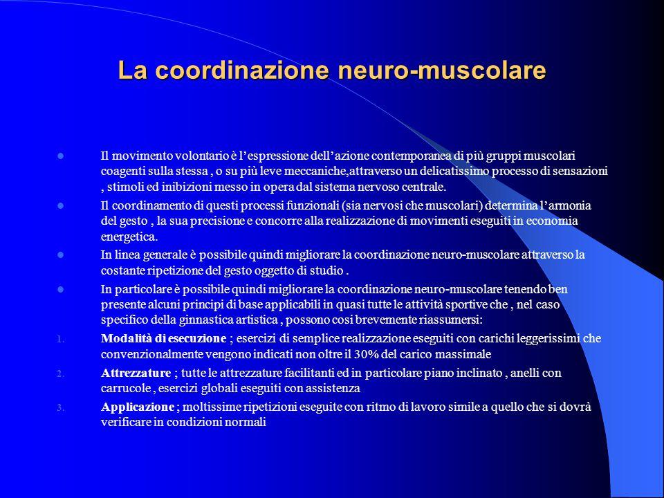La coordinazione neuro-muscolare Il movimento volontario è l'espressione dell'azione contemporanea di più gruppi muscolari coagenti sulla stessa, o su più leve meccaniche,attraverso un delicatissimo processo di sensazioni, stimoli ed inibizioni messo in opera dal sistema nervoso centrale.