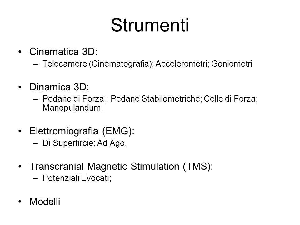 Strumenti Cinematica 3D: –Telecamere (Cinematografia); Accelerometri; Goniometri Dinamica 3D: –Pedane di Forza ; Pedane Stabilometriche; Celle di Forz