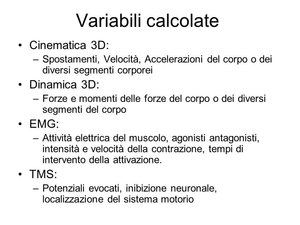 Variabili calcolate Cinematica 3D: –Spostamenti, Velocità, Accelerazioni del corpo o dei diversi segmenti corporei Dinamica 3D: –Forze e momenti delle
