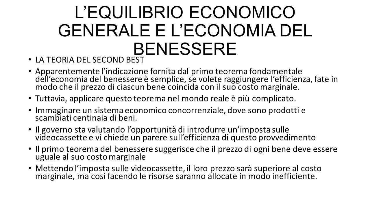 L'EQUILIBRIO ECONOMICO GENERALE E L'ECONOMIA DEL BENESSERE LA TEORIA DEL SECOND BEST Apparentemente l'indicazione fornita dal primo teorema fondamenta