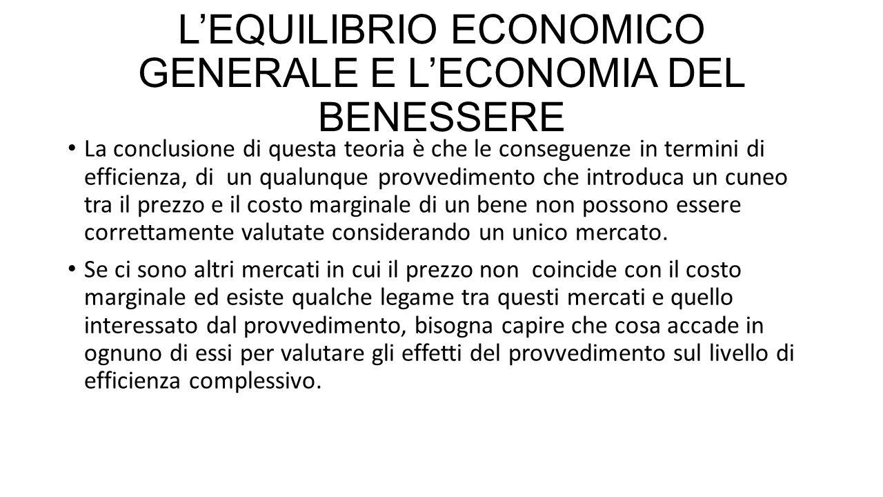 L'EQUILIBRIO ECONOMICO GENERALE E L'ECONOMIA DEL BENESSERE La conclusione di questa teoria è che le conseguenze in termini di efficienza, di un qualun