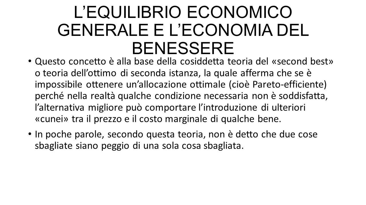 L'EQUILIBRIO ECONOMICO GENERALE E L'ECONOMIA DEL BENESSERE Questo concetto è alla base della cosiddetta teoria del «second best» o teoria dell'ottimo