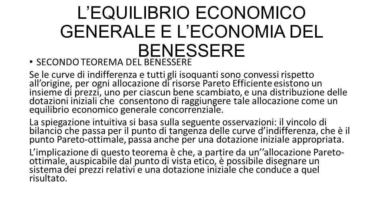 L'EQUILIBRIO ECONOMICO GENERALE E L'ECONOMIA DEL BENESSERE SECONDO TEOREMA DEL BENESSERE Se le curve di indifferenza e tutti gli isoquanti sono conves