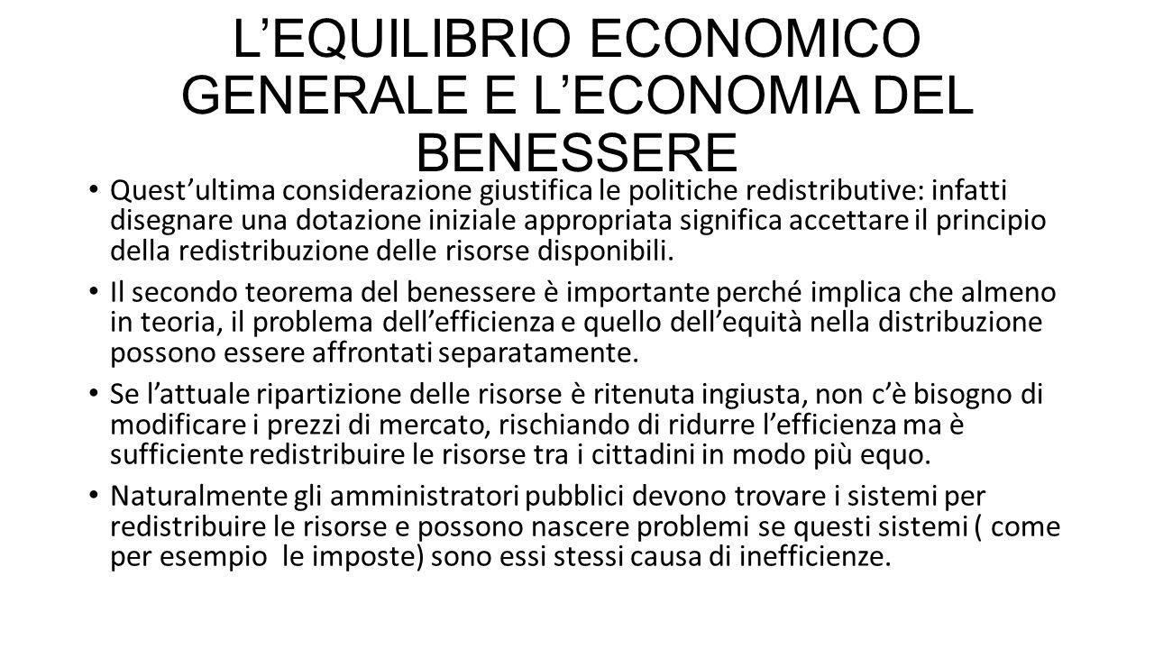 L'EQUILIBRIO ECONOMICO GENERALE E L'ECONOMIA DEL BENESSERE Quest'ultima considerazione giustifica le politiche redistributive: infatti disegnare una d