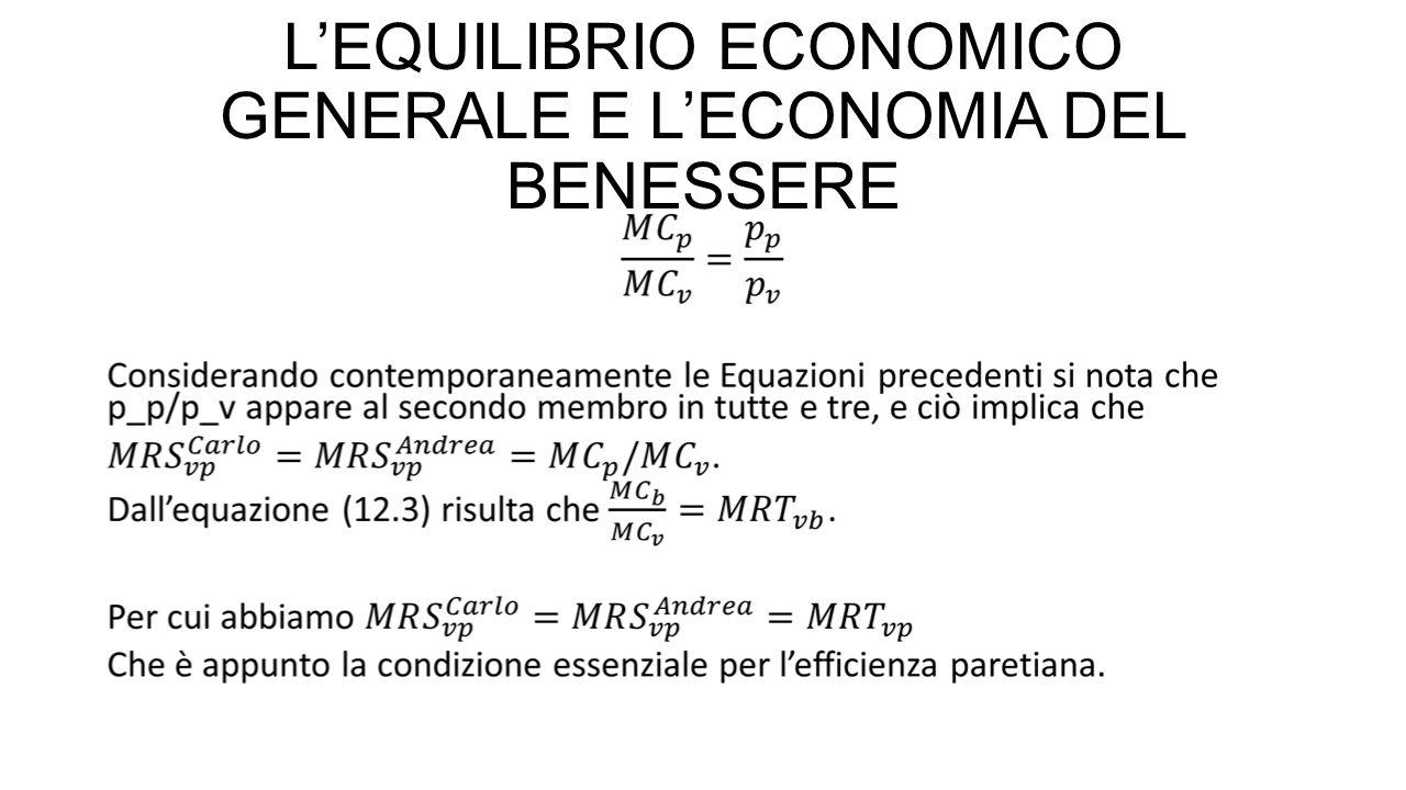 L'EQUILIBRIO ECONOMICO GENERALE E L'ECONOMIA DEL BENESSERE Quindi, se c'è concorrenza e tutti gli individui hanno come obbiettivo la massimizzazione ( dell'utilità o del profitto), si ottiene un'allocazione Pareto efficiente delle risorse economiche.